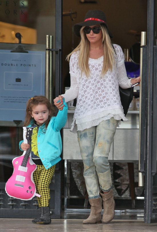 Ashley Tisdale seen with her niece Mikayla leaving Barneys New York Featuring: Ashley Tisdale Where: Los Angeles, California, United States When: 07 Mar 2013 Credit: Owen Beiny/WENN.com