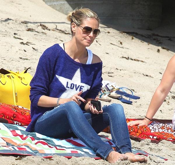 Heidi Klum and her children on Malibu Beach