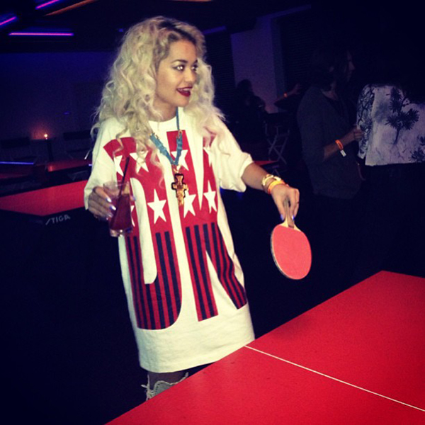 Rita Ora Playing Table Tennis in DKNY for Opening Ceremony Shirt