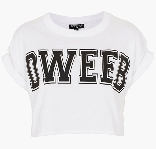 Topshop 'Dweeb' Graphic Crop Tee