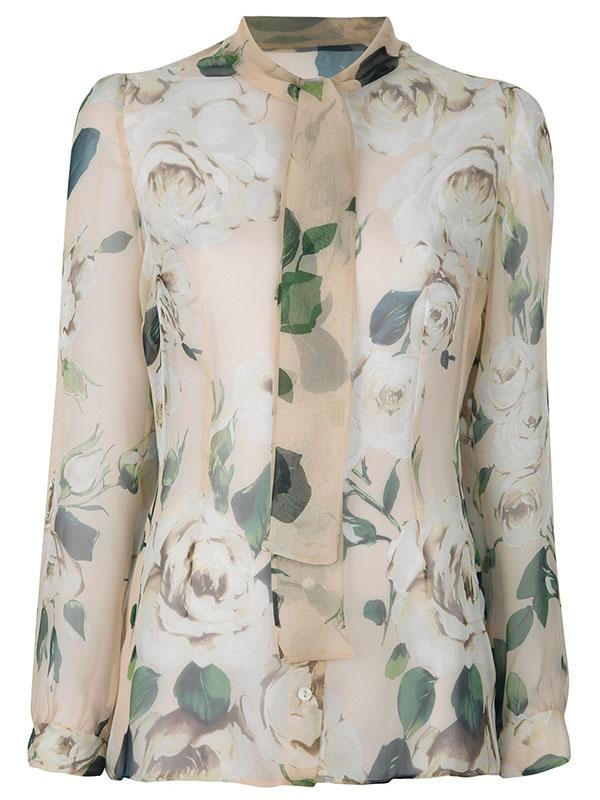 Dolce & Gabbana Floral Brown Silk Blouse