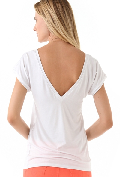 Feel The Piece V Back Tee-White