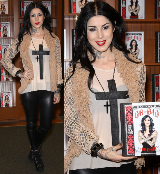 Kat-Von-D-signs- copies-of-her-new-book-Go-Big-or-Go-Home- at-Barnes-&-Noble
