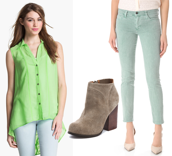 Two by Vince Camuto High Low Silk Shirt coordinates