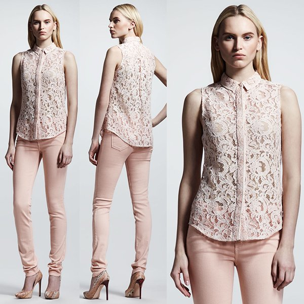 Victoria Beckham Denim 50s Lace Shirt in Blush
