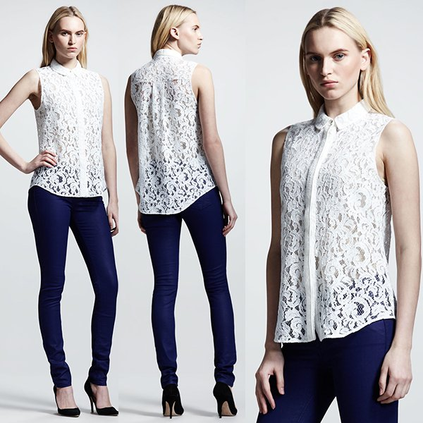 Victoria Beckham Denim 50s Lace Shirt in White