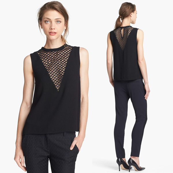ALC Harlow Checkerboard Lace Inset Top