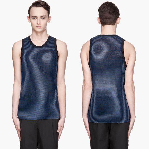 Alexander Wang Black and Blue Striped Linen-Silk Jersey Tank Top