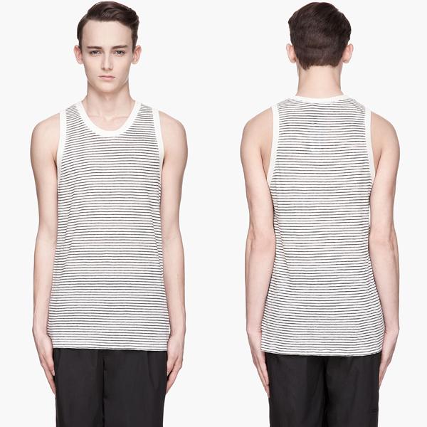 Alexander Wang Black and Off-White Striped Linen-Silk Jersey Tank Top