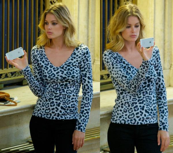 Doutzen Kroes in Leopard Print Top