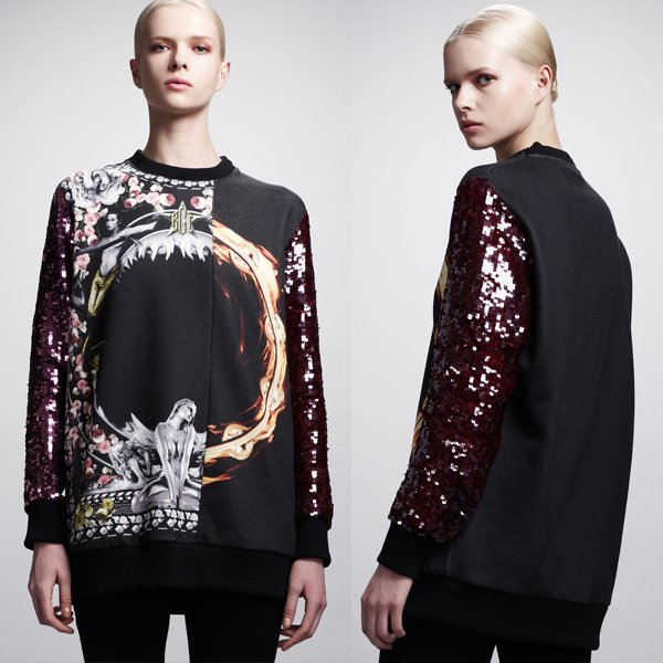 Givenchy Printed Sequin-Sleeve Sweatshirt