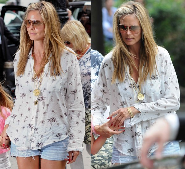 Heidi Klum in Maison Scotch Palm Tree TShirt