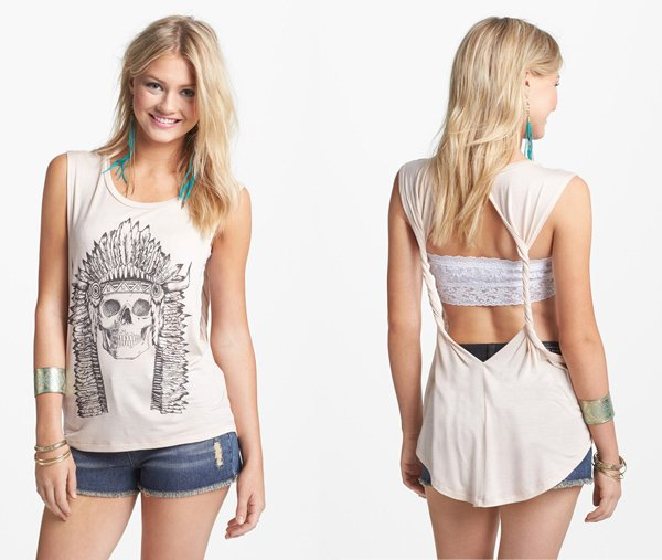 Project Social T Skull Graphic Twist Back Muscle Tank